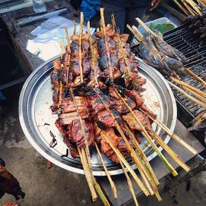 grilled frog and pork ribs street foods Cambodia