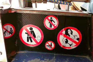things not permitted on Tuktuk - Chiangmai Thailand culture