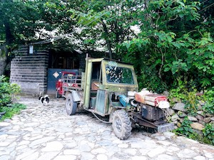 life in a village, tractor, dog 山边的生活,窗外Depth of Field Guesthouse Dali