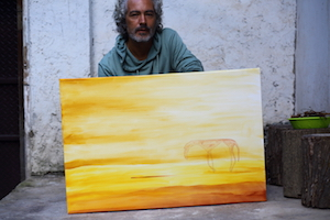 Diego & his painting, Argentina artist & traveler