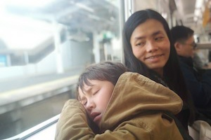 sleeping on Osaka train